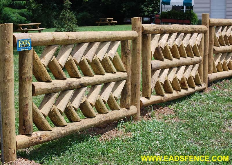 Custom Wood Log Fence
