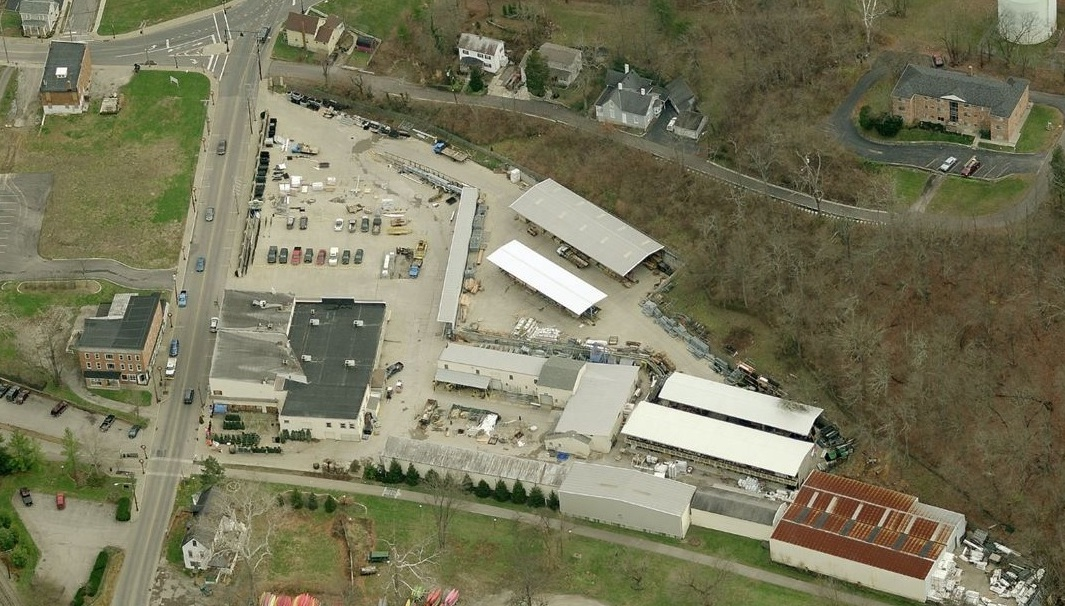 Aerial View of Eads Fence Company and Loveland Hardware General Store